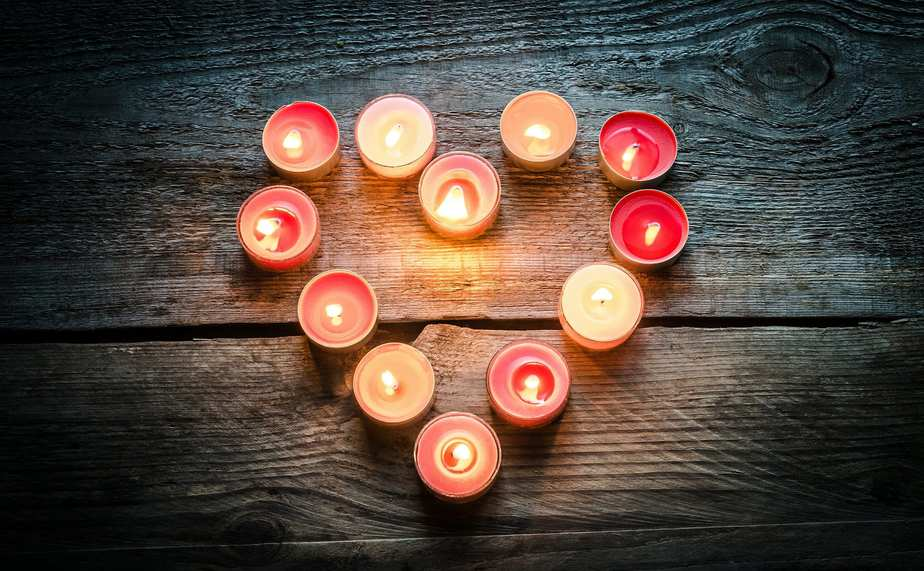 St Valentine's day candles